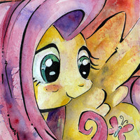 Fluttershy Print of Watercolor Painting by Jen Tracy - My Little Pony Friendship is Magic MLP:FIM - Sweetly Shy