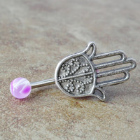 Hamsa Hand Belly Button Ring Jewelry
