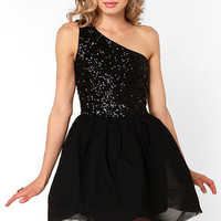 Waltz in a Name Black Sequin Dress