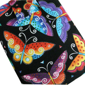 I-Pad or Tablet Padded Sleeve in Laurel Burch Butterflies Fabric