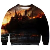 Romwe Women's Castle Beside Sea Setting Sun Scenery Pattern Polyester Sweatshirt-Colorful-S