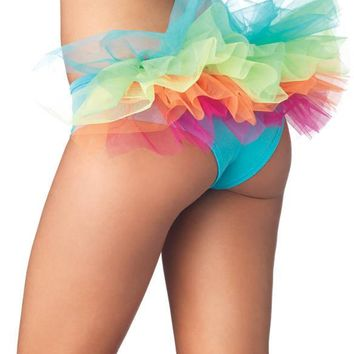 Rainbow Spandex Tanga Panty (Medium/Large,Multicolor)