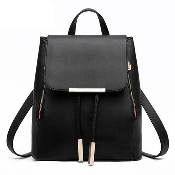 Top Handle Synthetic Leather Backpack