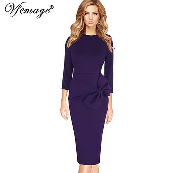 Vfemage Womens Celebrity Elegant Vintage 3/4 Sleeves Work Business Party Evening Formal Bodycon Midi Mid-Calf Sheath Dress 7915