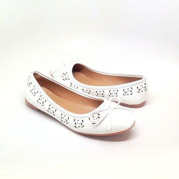White Flat with Floral Design Cutout