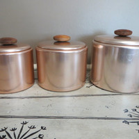 Vintage Canister Set Mirro Canisters Kitchen Canisters Kitchen Storage Storage Canisters Pink Canister Set Aluminum Canisters Metallic Pink