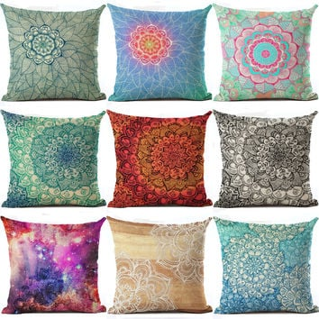 Bohemian Series Cushion Flower Geometric Throw Pillow Red Nordic Cushion Vintage Abstract Luxury Home Decorative Pillows HH063