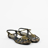 Chanel Metallic Gold & Black Leather Beaded 'CC' Open Toe T Strap Sandals
