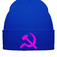 Hammer Sickle Communist Russia Embroidery - Beanie Cuffed Knit Cap