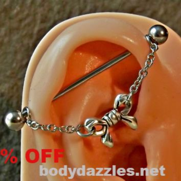 Cute Bow Industrial Barbell Dangling 14ga Body Jewelry Ear Jewelry Double Piercing Scaffold Bar