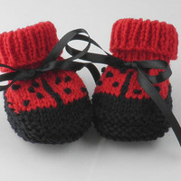 Cute New Baby Handknit Lady Bug Baby Booties