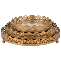 3-Piece Round Metal Decorative Tray Set (Gold)