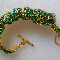 Scarce KJL Kenneth Jay Lane Gold Tone Enameled Green Enamel Color Articulated Exotic Alligator Crocodile Bracelet With Blue Rhinestone Eyes
