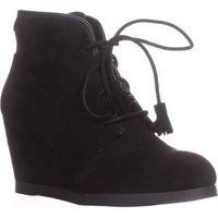 madden girl Dallyy Lace Up Wedge Ankle Booties, Black, 7.5 US