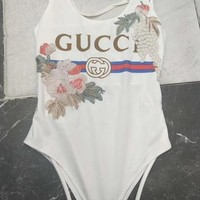 GUCCI Flower Women Fashion Backless One Piece Swimwear Bikini Swimsuit