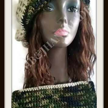 Mesh Hat and Purse set , Crochet Tam , Crochet clutch , Spring Hat , Summer Hat , Crochet Handbag , Medium bag  / Camo and Cream