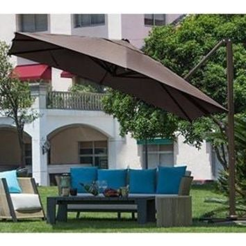 Polyester 10' Square Easy-open Offset Outdoor Umbrella Parasol With Cross Base