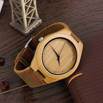 Men's Watches Bamboo Wood Wooden Watch Genuine Leather Band