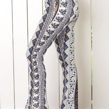 Tribal Geometric Print High Waist Flare Pants