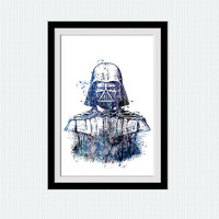 Star Wars Darth Vader watercolor art print Star Wars colorful decor Darth Vader poster Home decoration Kids room wall art Wall hanging W515