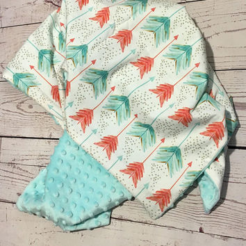 Personalized Baby Blanket,Handmade Minky Blanket,Organic Cotton,Coral,Teal,Gold colors,Baby Bedding,Baby Gift,Crib Bedding,Minky Baby
