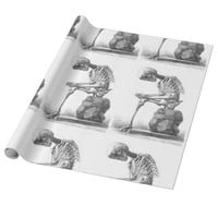 Sitting vintage skeleton thinking gift paper wrapping paper