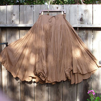 Romantic Bohemian Skirt/ Brown Cotton Maxi Gypsy by KheGreen
