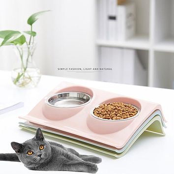 Pet Medium Size Pink Double Bowls Food Water Feeder Stainless Steel Cat Food Bowl for Dog Puppy Cats Pets Supplies Feeding Dishes FREE SHIPPING