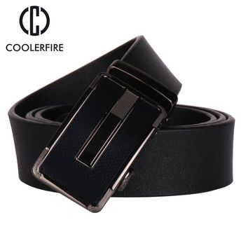 COOLERFIRE New fashion mens belt top cow genuine leather automatic buckle belts for men causal strap ceinture homme ZD067