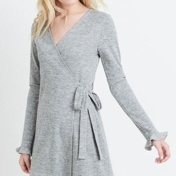 Grey Long Sleeve Wrap Dress