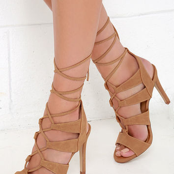 I'll Say! Tan Suede Leg-Wrap Heels