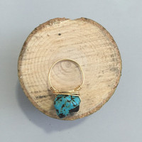Turquoise Stone Wire Wrapped Ring