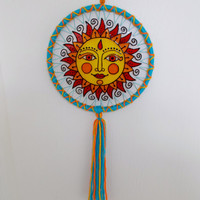 6'' Suncatcher - Glass Painted Whimsical Sun Mandala Mobile - Wallhanging Home Decoration - Boho Hippie Suncatcher - Nursery Mobile