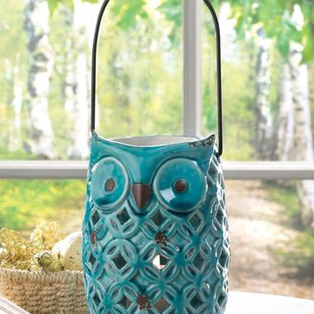 Owl Design Stoneware Candle Lanterns In Blue Or White