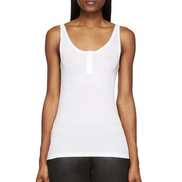 T By Alexander Wang White Baby Rib Henley Tank Top