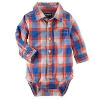 OshKosh B'gosh Plaid Woven Button-Down Bodysuit - Baby Boy, Size: