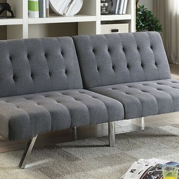 Nathaniel collection blue grey linen like fabric upholstered futon bed
