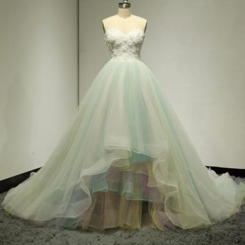 Sweetheart 3D Flower Ball Gown Wedding Dresses Colorful Blue Yellow Bridal Gown