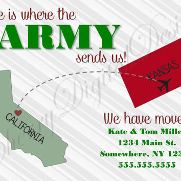 Army Military Printable Digital Custom We have moved announcement.  Moving announcement for military.  Army, Navy, Marines, Air Force