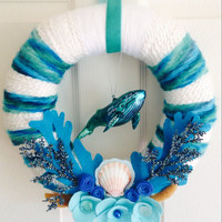 Beach Yarn Wreath, Whale Nursery, Whale Baby Shower, Ocean Wreath, Beach Wedding Wreath, Blue Whale Decor, Ocean Nursery, Beach Nursery