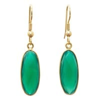 Gold-overlay Green Onyx Earrings