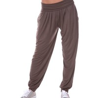 White Mark Women's Harem Pants in Dark Brown