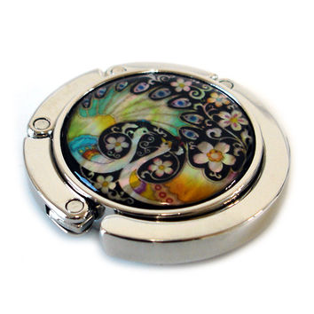 Mother of Pearl Peacock Pair Luxury Foldable Round Table Purse Caddy Handbag Bag Women Fashion Gift Holder Folding Hanger Hook