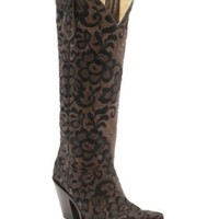 Corral Women's Chocolate w/Black Lace Floral Embroidered Overlay Tall Snip Toe Western Boots