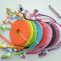 iPhone 4 USB Cable, iPhone 4S USB Cable, Costyle 10pcs/lot 10 Colors Colorful 3M 10 FT Long Flat USB Data Sync Charging Cable Cord for iPhone 4 4S iPod