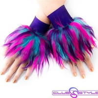 Clubstyle Monster Turquoise, Purple, and Pink Wrist Cuffs : Quality Fluffy Wrist Cuffs