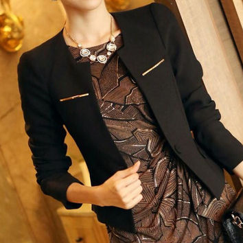 Fashion Jacket Blazer Women Suit Foldable Long Sleeves Lapel Coat Lined With Striped Single Button Vogue Blazers Jackets