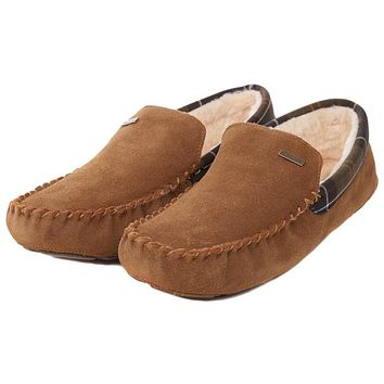 Men's Monty Moccasin Slippers in Camel by Barbour