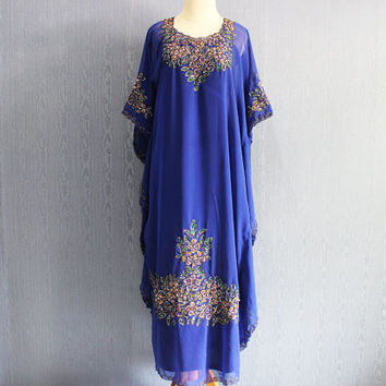 Blue Kaftan Maxi Dress Dubai Abaya Boho Sequin Caftan Dress Moroccan Evening Wear Maxi Gold Embroidery Dress