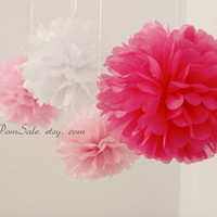 It's a Girl - 8 Tissue Paper Pom Poms - or choose your colors - Fast Shipping - Wedding / Baby Shower / Birthday Party / Nursery Decor